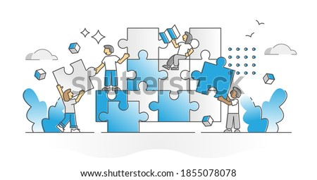 Teamwork puzzle with team assistance, help and support monocolor outline concept. Project tasks and duties partnership as pieces assemble with division of labor for effective work vector illustration. Photo stock ©