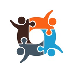 Teamwork Puzzled Cooperation. Vector Graphic