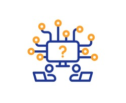 Teamwork question line icon. Ask help sign. Outsource support symbol. Quality design element. Line style teamwork question icon. Editable stroke. Vector
