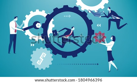 Teamwork. Repair of a business machine. Business persons improve machine performance. Business vector illustration.