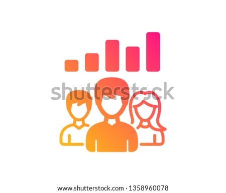 Teamwork results icon. Group of people sign. Classic flat style. Gradient teamwork results icon. Vector