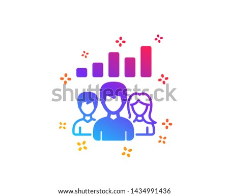 Teamwork results icon. Group of people sign. Dynamic shapes. Gradient design teamwork results icon. Classic style. Vector