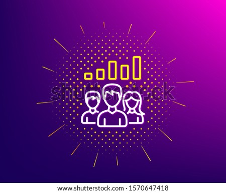 Teamwork results line icon. Halftone pattern. Group of people sign. Gradient background. Teamwork results line icon. Yellow halftone pattern. Vector