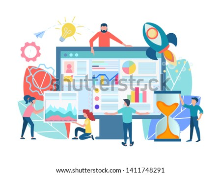 Teamwork seo optimization of web site concept. The characters are working on the design of the site, the design of the web page, programmers and web designers develop the site.