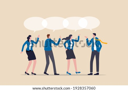 Teamwork share opinion, team meeting sharing idea to solve problem, discussion and thought in business meeting concept, businessmen and women working team speak with shared their thought speech bubble