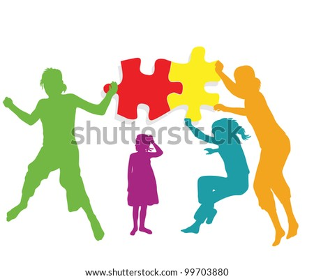 Teamwork solution background vector. Kids making together colorful jigsaw puzzle