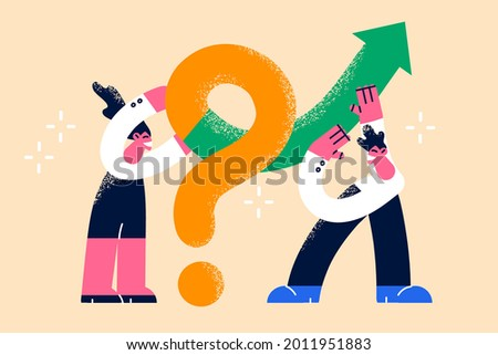 Teamwork, solving problem, collaboration concept. Business people colleagues coworkers teammates standing putting solution arrow on question mark problem sign vector illustration