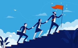 Teamwork success - Team of business people walking up staircase, holding hands with raised flag. Working together creates progress and winners concept. Vector illustration.