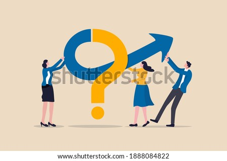 Teamwork to solve business problem, cooperation or collaboration in company to achieve business success concept, businessmen and women, colleagues help put solution arrow on question mark problem sign