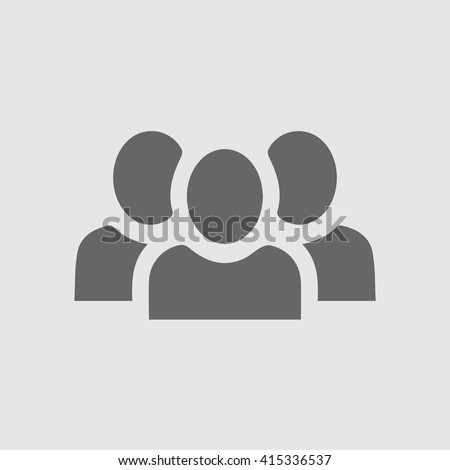 Teamwork vector icon. Three businessman silhouette. Team of people simple isolated symbol sign.