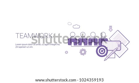 Teamwork Web Banner With Copy Space Business team Cooperation Concept Vector Illustration