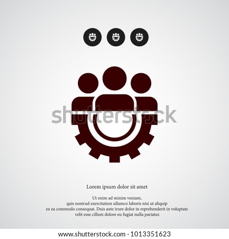 Teamwork with gear icon. Simple HR element illustration. Work symbol design from business collection. Can be used in web and mobile.