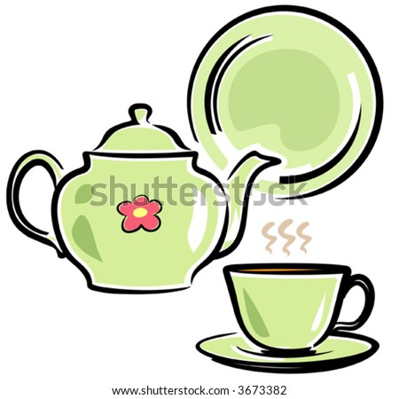 Teapot, Cup and Dish  - stock vector