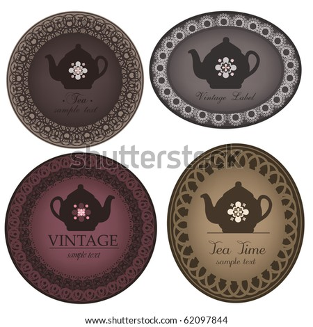 teapot labels - stock vector
