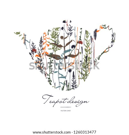 Teapot silhouette with floral print. Her bal tea. Vector card design.