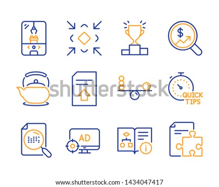 Teapot, Technical algorithm and Search file icons simple set. Seo adblock, Currency audit and Upload file signs. Winner podium, Balance and Minimize symbols. Line teapot icon. Colorful set. Vector