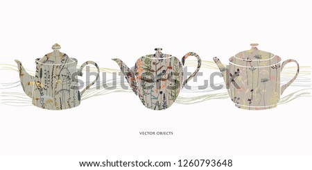 Teapots silhouettes with floral print. Herbal tea. Vector card design.