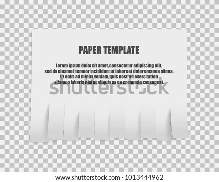 Tear off stripes of paper sheet. Street advertisement template with copy space template isolated on white background. Tear off paper notice on the wall. On transparent background.