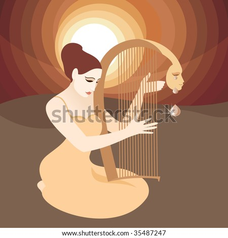 teardrop woman with harp the