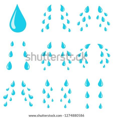 Tears drops. Sorrow weeping cry streams, tear blob or sweat drop. Stream of crying wet eyes tears or rain droplets splash shape. Raindrops isolated vector cartoon illustration icons set