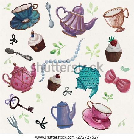 teatime  tea pot  tea cup