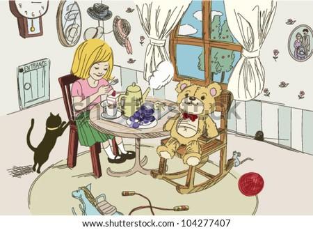 Teatime With teddy bear