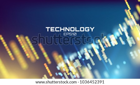 Tech background. Neon glow grid wallpaper. Science visualization