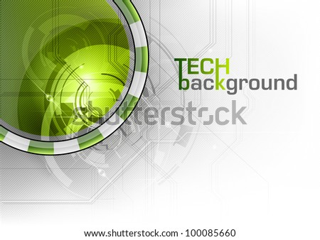 tech background with the green circle