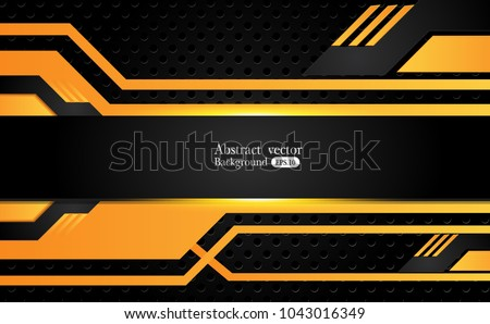 stock-vector-tech-black-background-with-contrast-orange-yellow-stripes-abstract-vector-graphic-brochure-design
