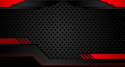 Tech black background with contrast red stripes. Abstract vector graphic brochure design