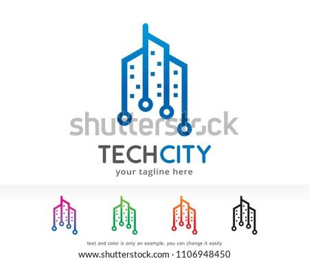 Tech City Logo Symbol Template Design Vector, Emblem, Design Concept, Creative Symbol, Icon