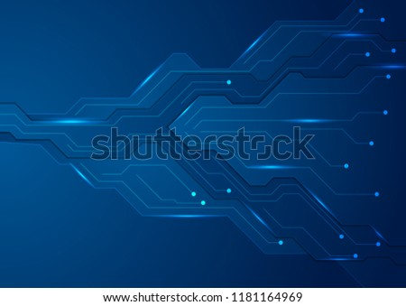 Tech dark blue futuristic abstract circuit board background. Vector illustration