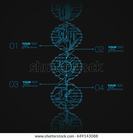 Stock Photo Tech dna style infographic with editable text boxes