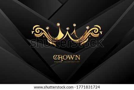 Tech geometric minimal Abstract illustration bright black color strip pattern luxury with gold Vector illustration design.Cool strip wave poster element. Modern bright colors with golden crown
