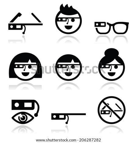 tech glass vector icons set