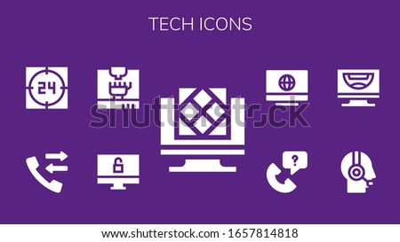 tech icon set. 9 filled tech icons.  Simple modern icons such as: Artificial intelligence, Computer, 3d printing, Call, Support, Customer service
