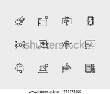 Tech icons set with data analytics, mobile application and software api. Set of tech icons also including network sign for your web app logo UI design.