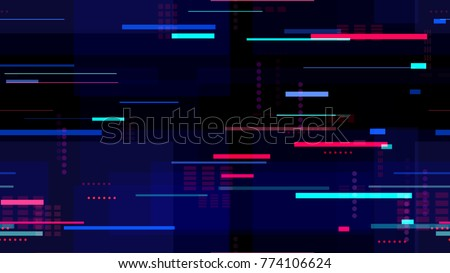 Tech Seamless Texture with Neon Rays and Stripes. Abstract Night City Background with Traffic Car Lights. Print Design Pattern with Neon Lights. Screen Futuristic Night Road Texture.