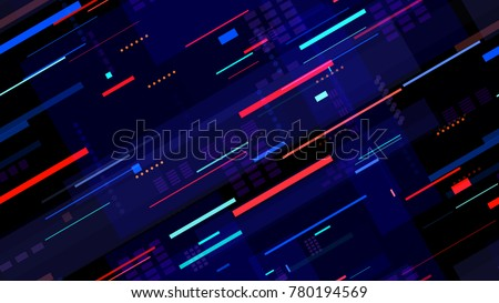 Tech Seamless Texture with Neon Rays and Stripes. Night Urban Streets Background with Bright Traffic Car Lights. Seamless Pattern with Light Traces. Cover Futuristic Night Road Texture.