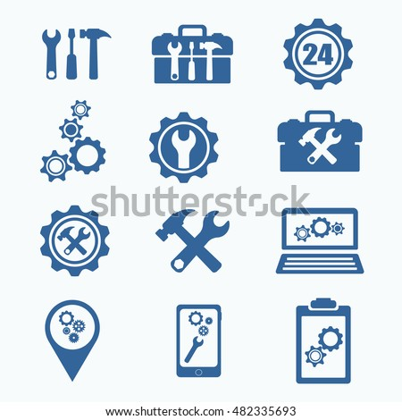 Tech Service Logo. Support settings concept. Mobile phone and computer recovery shop. Options and service tools icon set. Single flat icon isolated. Logo design. Vector illustration. Silhouette. ストックフォト ©
