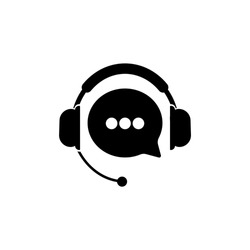 Tech support, call center or gear with headphones icon on an isolated white background. EPS 10 vector