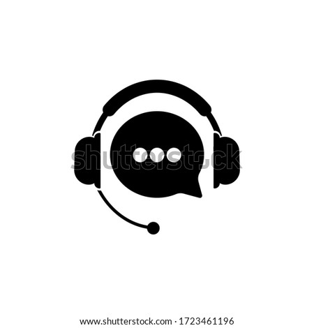 Tech support, call center or gear with headphones icon on an isolated white background. EPS 10 vector Photo stock ©