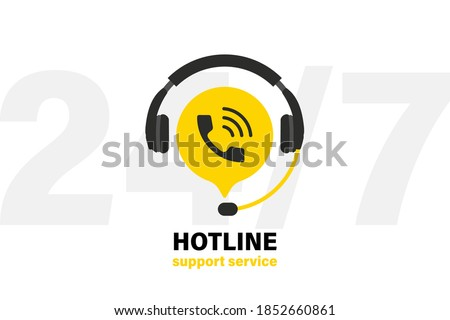 Tech support Headphones with microphone and chat speech bubble. Support service for user consultation. Customer Support Icon. Operator, secretary. Call center 24-7. Hotline support service