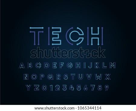 tech vector font typeface...