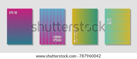 Tech zig zag lines gradient texture curves background for music cover. Wavy stripes and zig zag vector halftone lines texture banners vector set in blue, orange, magenta colors. #787960042