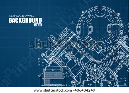 technical blue background with drawings of details and mechanisms. Vector illustration