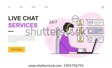 Technical customer support concept. Customer service representative talking with customer and helping him to solve the problem. Outline vector illustration. Website, webpage, landing page template