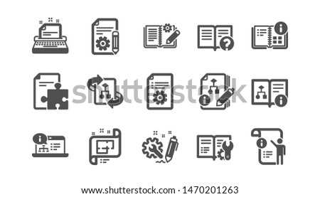 Technical documentation icons. Instruction, Plan and Manual. Algorithm classic icon set. Quality set. Vector