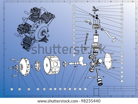 Technical drawing. Break-up assembly Radial Cylinder Engine. Vector image.