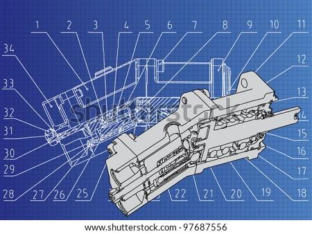 technical drawing 3D model Axial piston pump